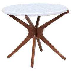 Mid-Century Sculptural Jax Walnut Side Table with Marble Top