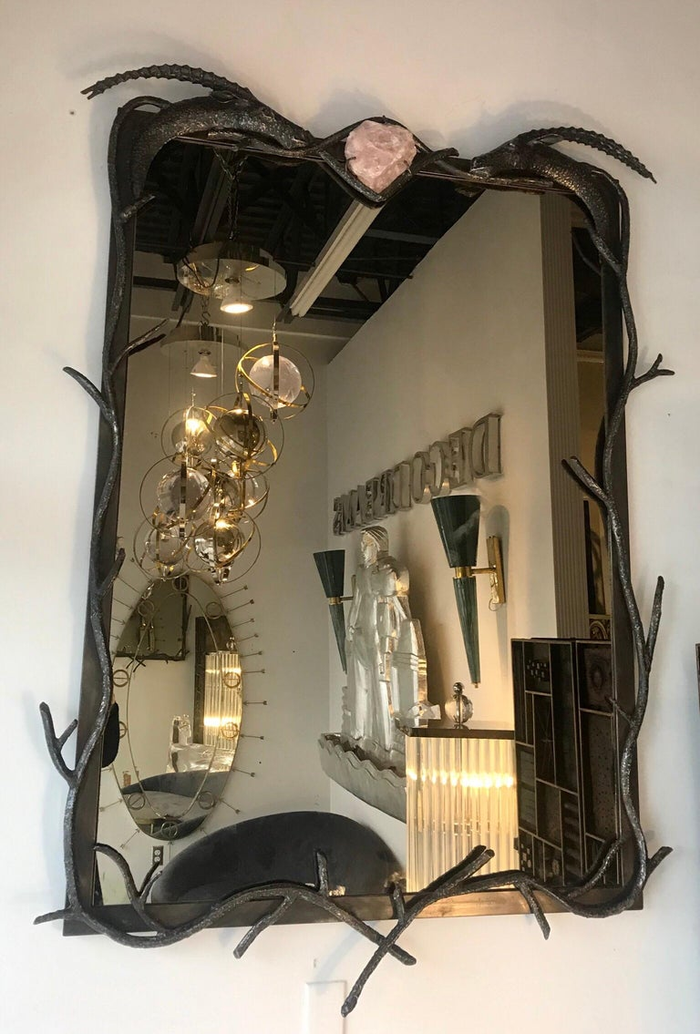 Midcentury Sculptural Mirror with Rose Quartz and Amethyst In Good Condition For Sale In Miami, FL