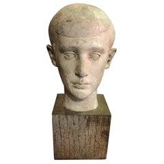 Midcentury Sculpture of Head Bust of Boy, 1945