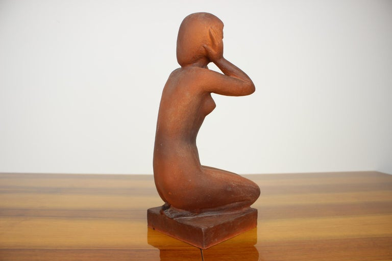Czech Mid-Century Sculpture of Nude Sitting Women Designed by Jitka Forejtová, 1960s For Sale