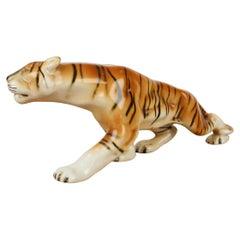 Mid-Century Sculpture of Tiger/ Royal Dux, 1960s