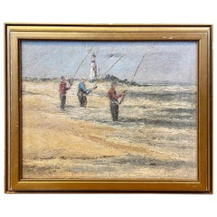 Mid Century Seascape with Surf Casters at Great Point on Nantucket, Signed