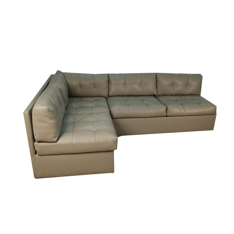 Stylish two-piece midcentury sectional perfectly designed in the style of Vladimir Kagan for Preview. An iconic piece of furniture that has remained in a single collection since it was acquired by the prior owner. Sofas are beautifully upholstered