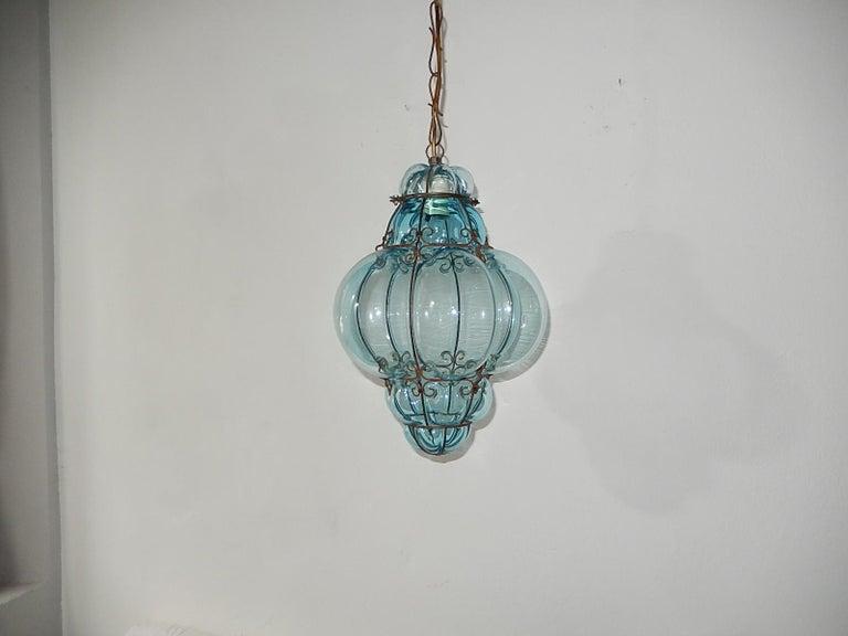 Midcentury Seguso Murano Aqua Blue Bubbles Blown Lantern Chandelier 4