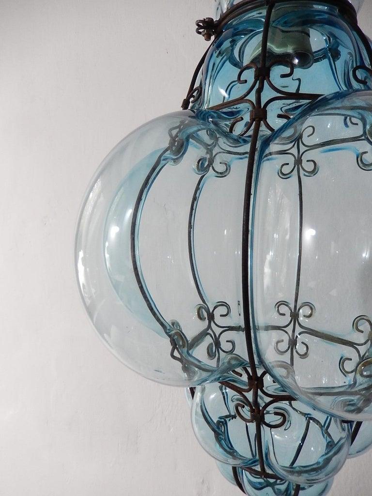 Midcentury Seguso Murano Aqua Blue Bubbles Blown Lantern Chandelier 6