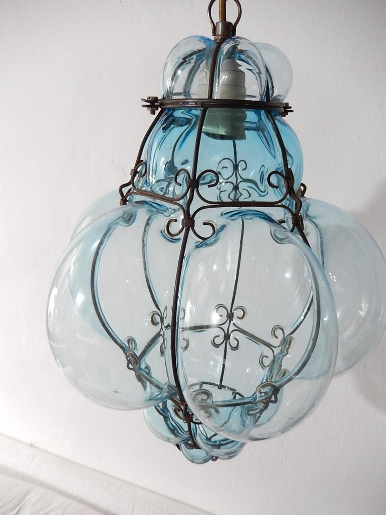 Italian Midcentury Seguso Murano Aqua Blue Bubbles Blown Lantern Chandelier