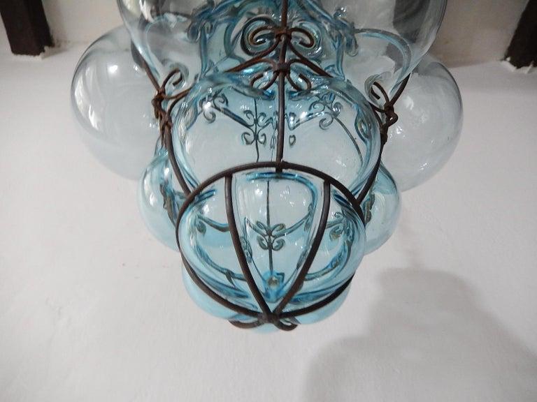 Mid-20th Century Midcentury Seguso Murano Aqua Blue Bubbles Blown Lantern Chandelier