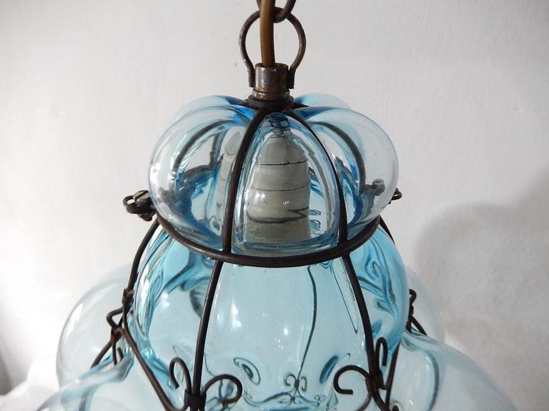 Murano Glass Midcentury Seguso Murano Aqua Blue Bubbles Blown Lantern Chandelier