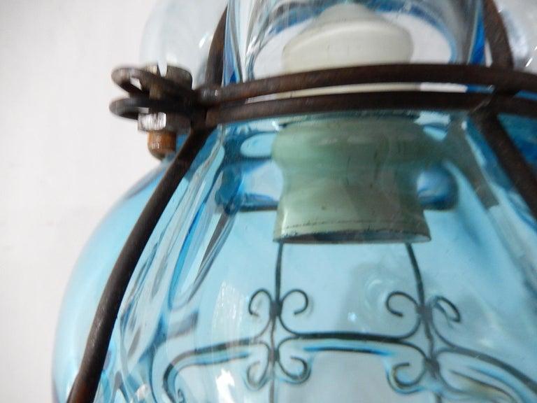 Midcentury Seguso Murano Aqua Blue Bubbles Blown Lantern Chandelier 1