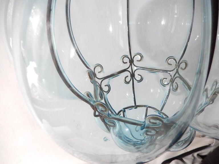 Midcentury Seguso Murano Aqua Blue Bubbles Blown Lantern Chandelier 2