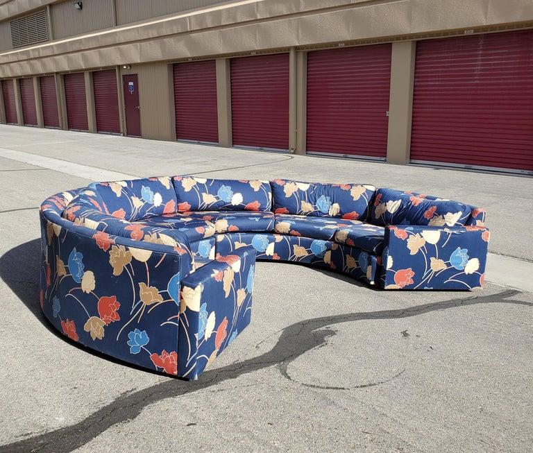 Mid-Century Modern Midcentury Semi Circular 2-Piece Sectional Sofa