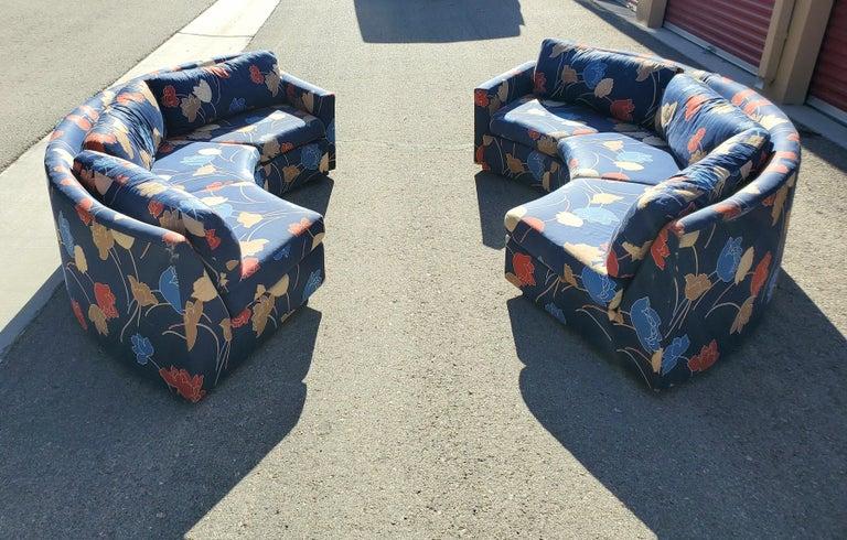 Fabric Midcentury Semi Circular 2-Piece Sectional Sofa