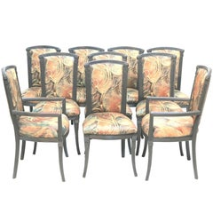 Mid-Century Set 10 Dining Chairs, Charcoal Gray Lacquer-Interior Crafts Mfg.
