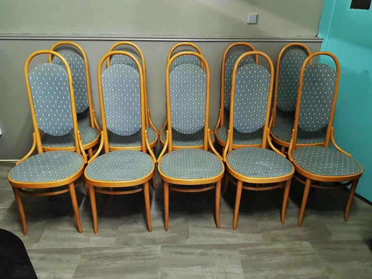 Set of 10 Thonet high back bentwood beech chairs.  Solid and stable. Signed.  Fabric can be changed easily.