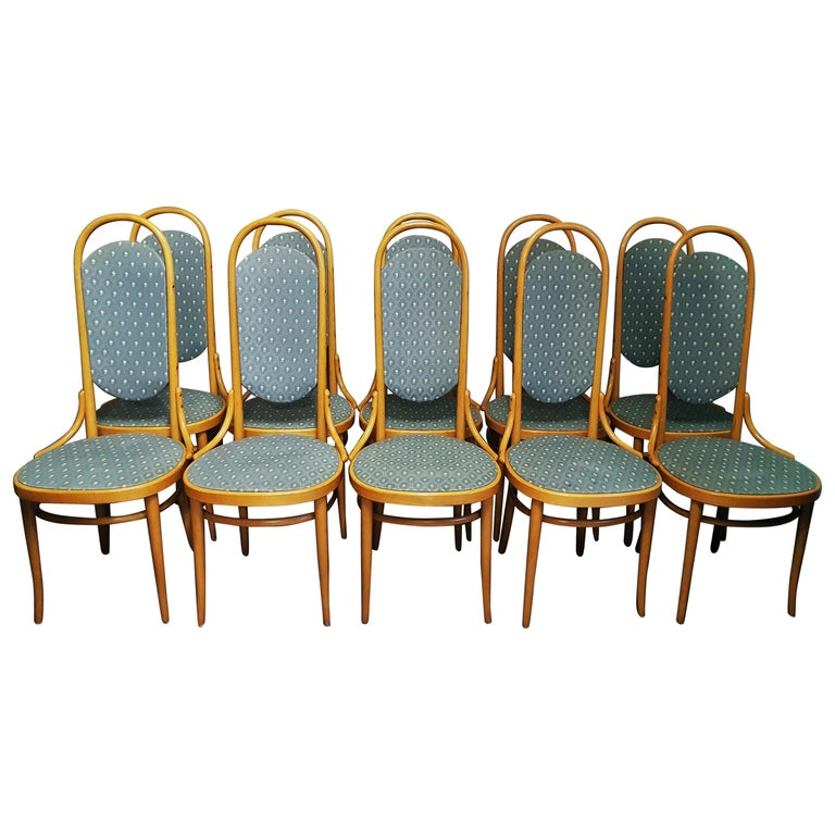 Midcentury Set of 10 Thonet High Back Bentwood Chairs For Sale