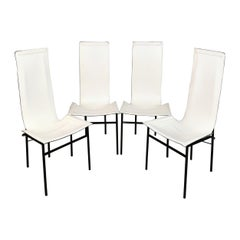 Midcentury Set of 4 Chairs in White Leather Italy Design, 1980s