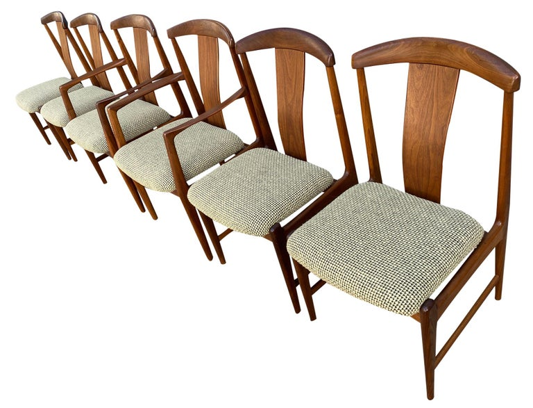 Swedish Midcentury Set of 6 Teak Dining Chairs by Folke Ohlsson for DUX For Sale