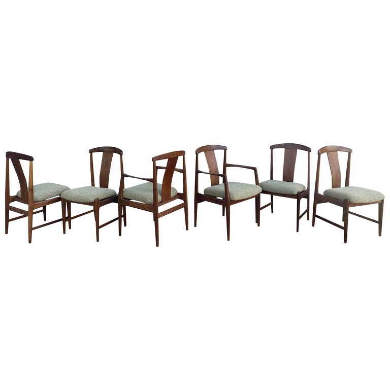 Midcentury Set of 6 Teak Dining Chairs by Folke Ohlsson for DUX For Sale