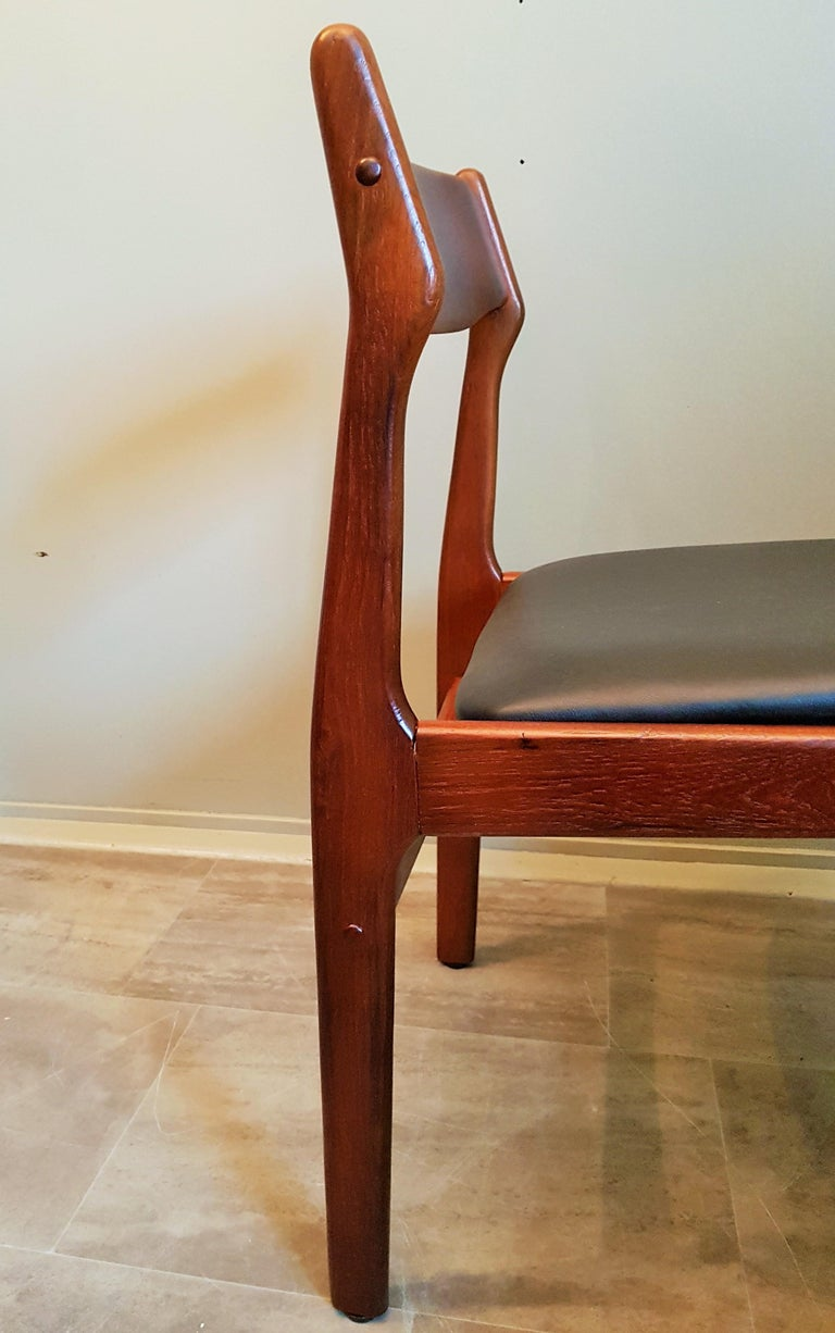 Midcentury Set of 8 Refinished Danish Erik Buch Dining Chairs in Teak, 1960 For Sale 8