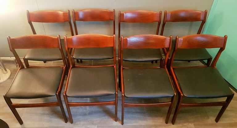 Mid-Century Modern Midcentury Set of 8 Refinished Danish Erik Buch Dining Chairs in Teak, 1960 For Sale