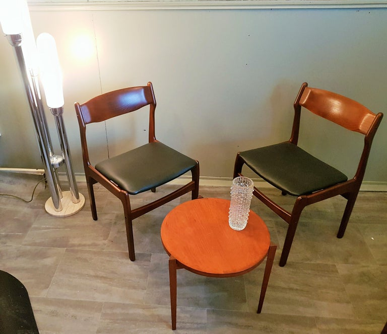 Mid-20th Century Midcentury Set of 8 Refinished Danish Erik Buch Dining Chairs in Teak, 1960 For Sale