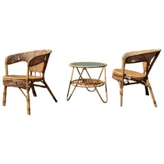 Midcentury Set of Bamboo Chairs and Table, 1950s
