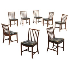 Midcentury Set of Eight Danish Dining Chairs by Frits Henningsen