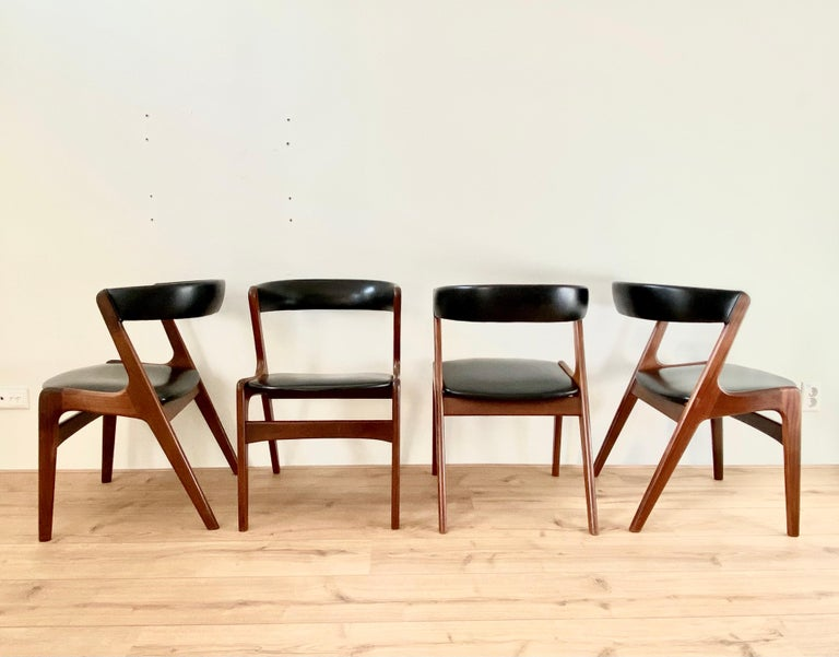 Midcentury Set of Four, Black Dining Room Chairs, Model Fire by Kai Kristiansen For Sale 6