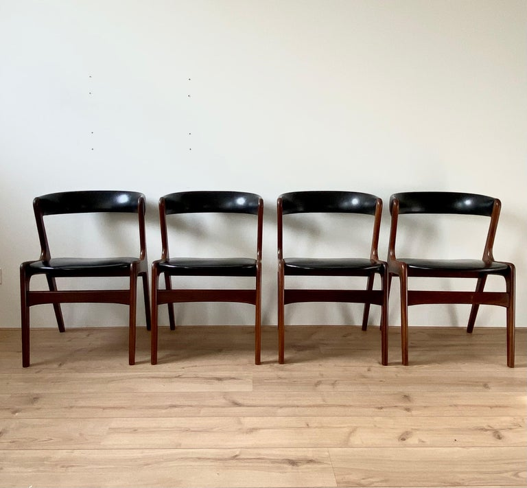 Very elegant designed Scandinavian chairs by Kai Kristiansen, model fire.
