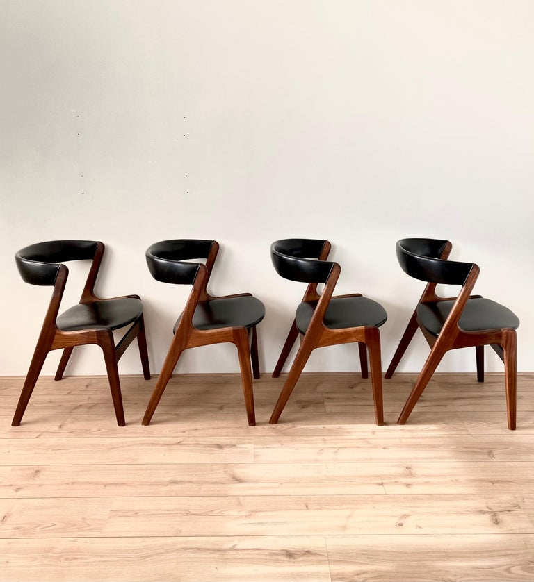 Mid-Century Modern Midcentury Set of Four, Black Dining Room Chairs, Model Fire by Kai Kristiansen For Sale