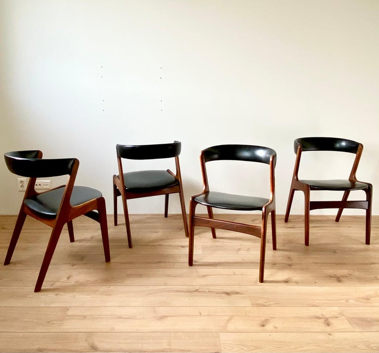 Danish Midcentury Set of Four, Black Dining Room Chairs, Model Fire by Kai Kristiansen For Sale