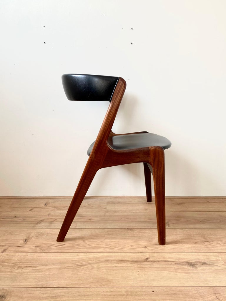 Midcentury Set of Four, Black Dining Room Chairs, Model Fire by Kai Kristiansen In Good Condition For Sale In Schagen, NL