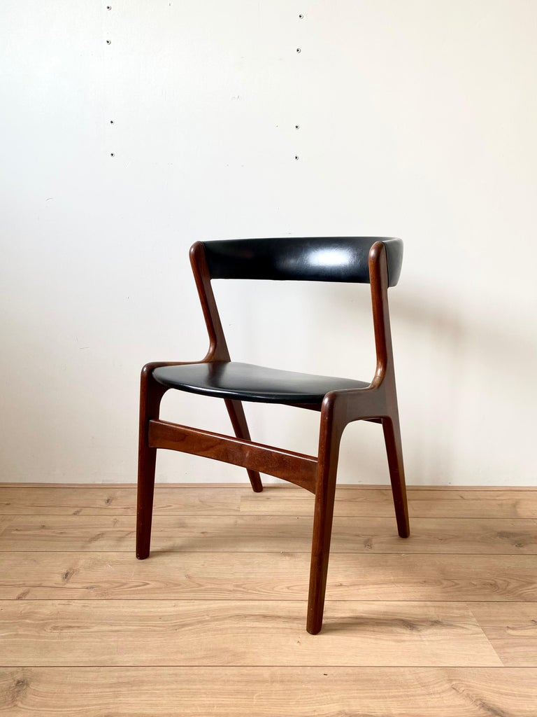 20th Century Midcentury Set of Four, Black Dining Room Chairs, Model Fire by Kai Kristiansen For Sale