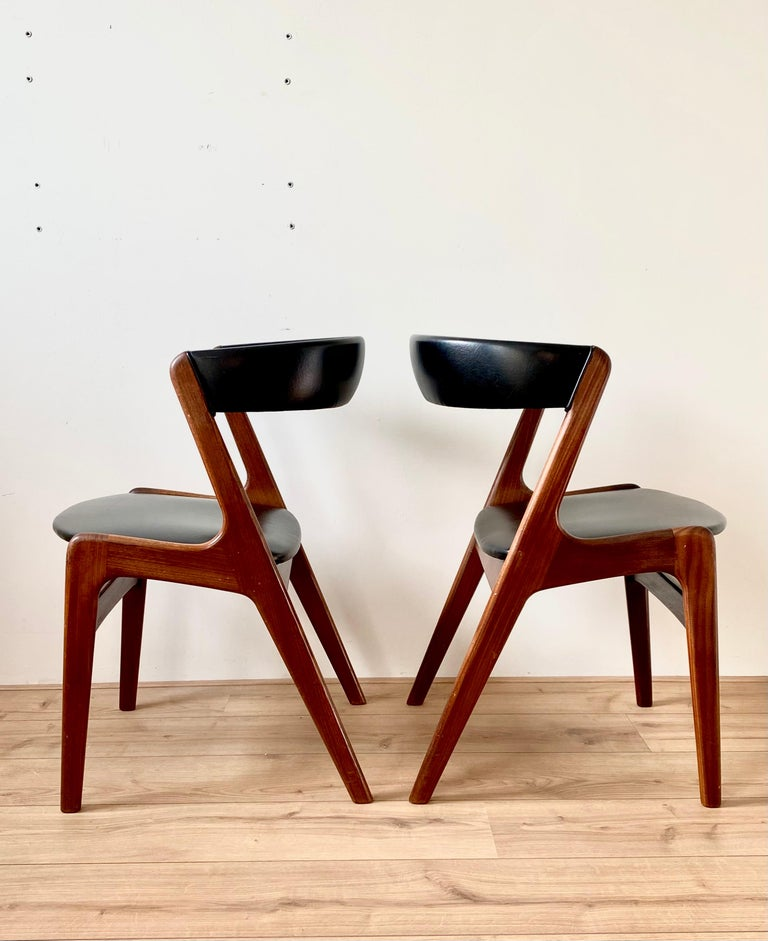 Midcentury Set of Four, Black Dining Room Chairs, Model Fire by Kai Kristiansen For Sale 2