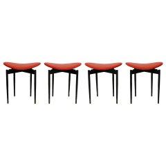 "Mid Century Set of Four ""Lutrario"" Stools Designed by Carlo Mollino, Italy, 1959"