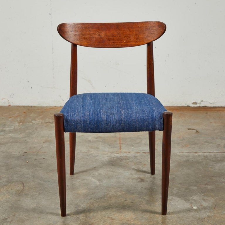 Belgian Pair of Mid Century Blue Upholstered Dining Chairs with Tapered Legs For Sale