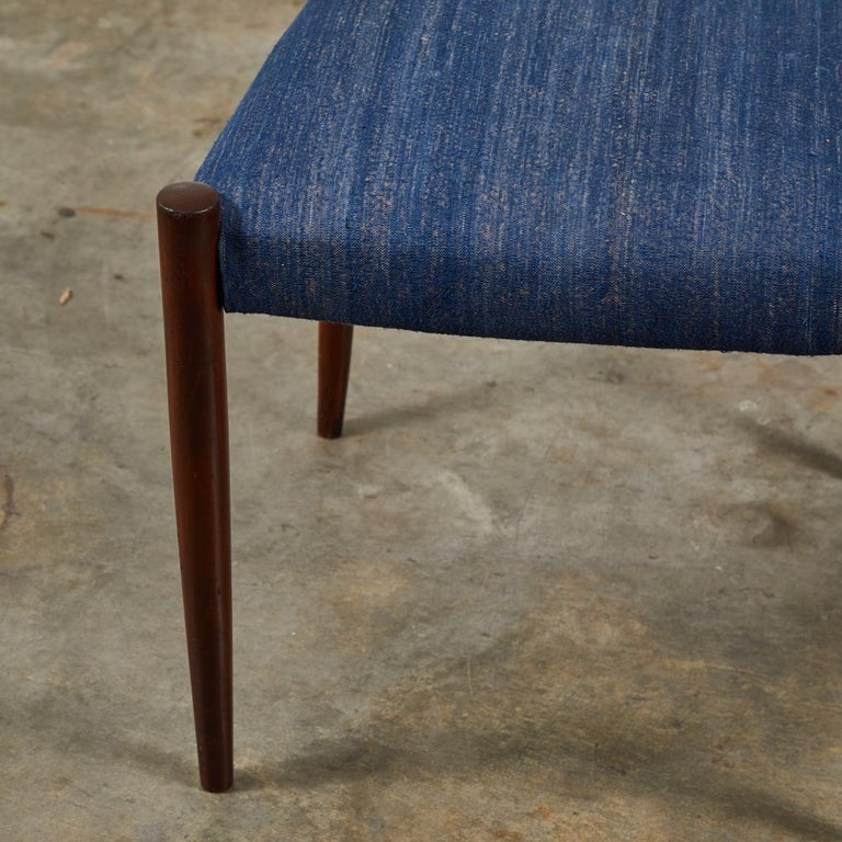 Pair of Mid Century Blue Upholstered Dining Chairs with Tapered Legs In Good Condition For Sale In Los Angeles, CA