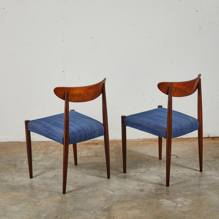 Early 20th Century Pair of Mid Century Blue Upholstered Dining Chairs with Tapered Legs For Sale
