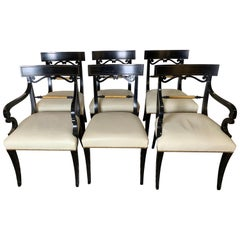 Midcentury Set of Six Regency Style Ebonized and Gilt Dining Chairs