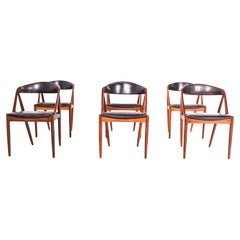Mid Century Set of Six Rosewood and Leather Dining Chairs by Kai Kristiansen