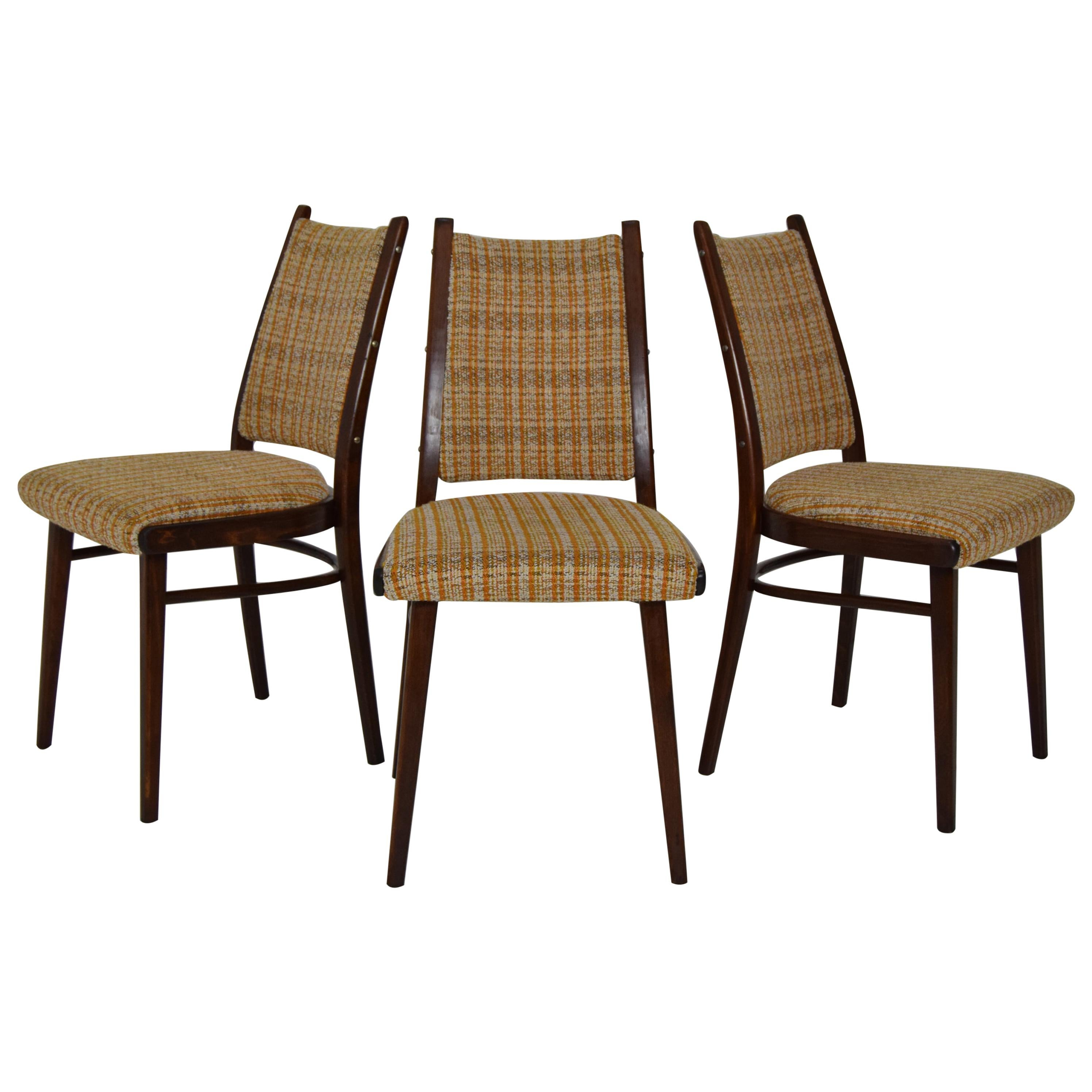 Midcentury Set of Three Chairs by Ton, 1960s