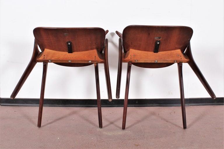Midcentury, Set of Two Teak Danish Chair by Hovmand-Olsen for M.K., Denmark For Sale 8