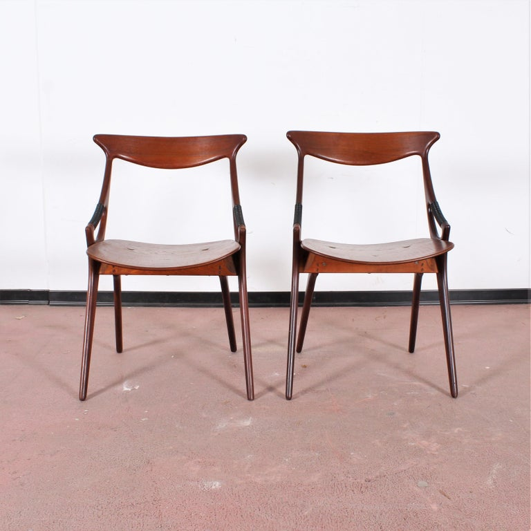 A set of four Arne Hovmand-Olsen teak chairs, Mogens Kold, A/S Kerteminde, Denmark, 1950s. Three marked with metal plate: MK CRAFTMANSHIP MADE IN DENMARK. Wear consistent with age and use.