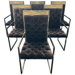Set of 6 Mid Century Mastercraft B. Rohne Brass Velvet Tufted Dining Chairs