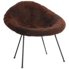 Mid Century Shag Bucket Chair by Asgeir Einarsson for Sindri