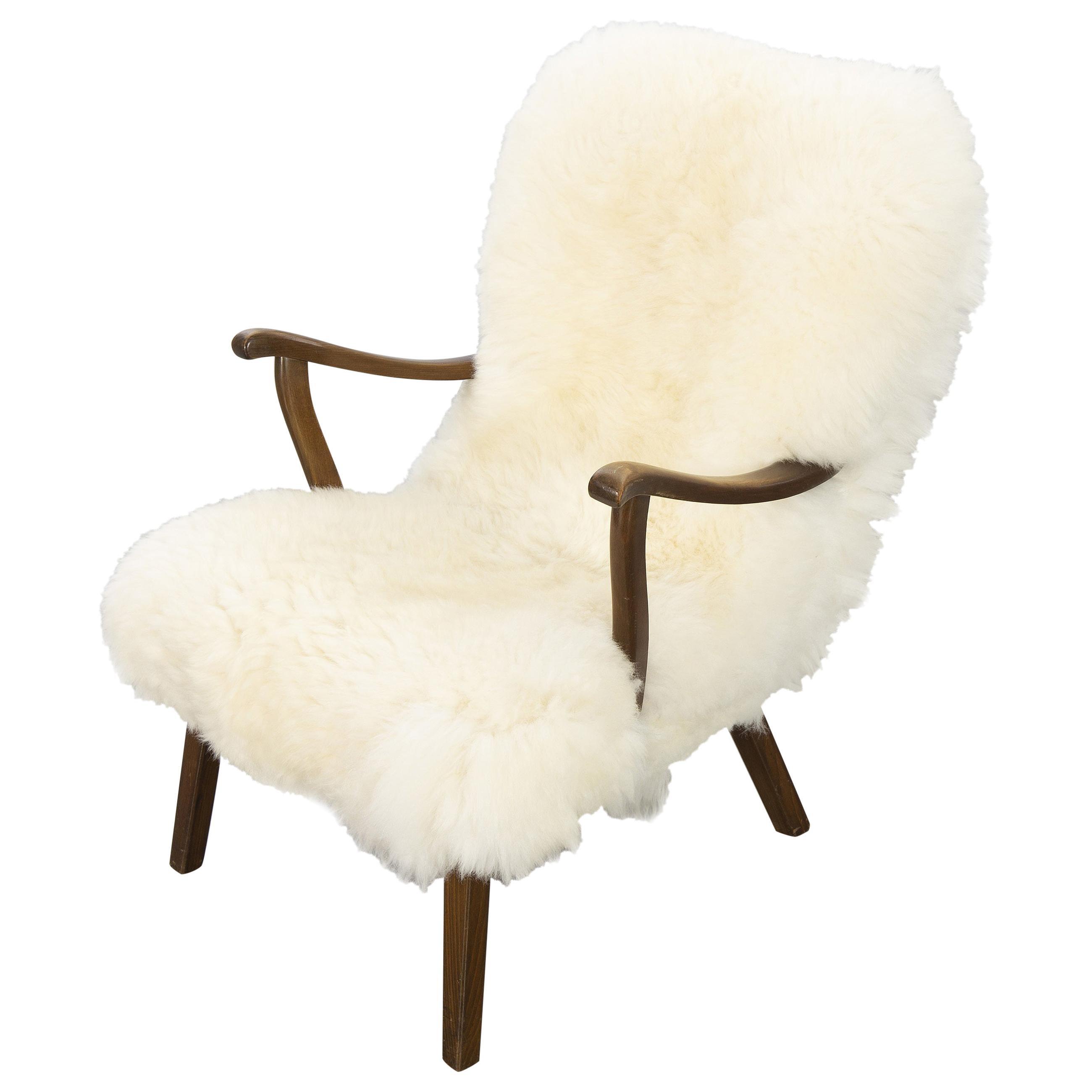 Mid-Century Sheepskin Armchair