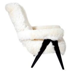 Midcentury Sheepskin Armchair, Probably, Italy