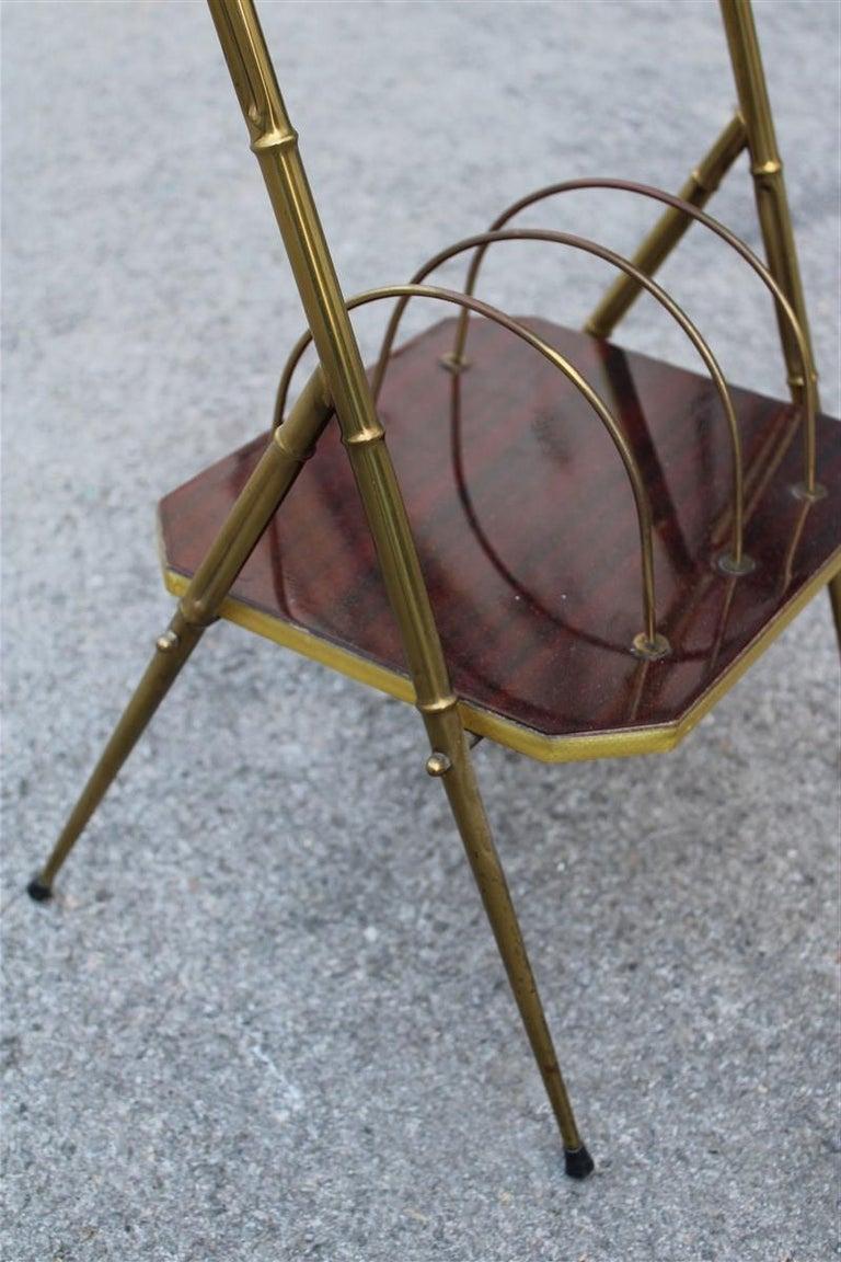 Mid-Century Modern Midcentury Shelf Italian Design Brass Gols Wood Newspapers For Sale