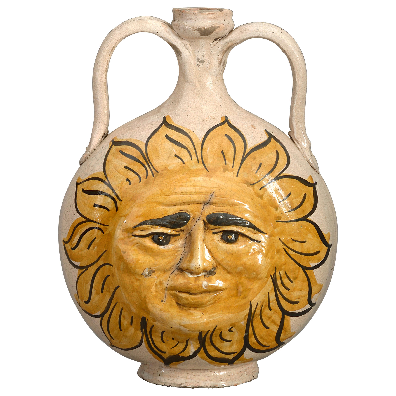 Midcentury Sicilian Caltagirone Pottery Sunburst Vase