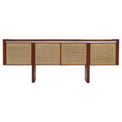 Midcentury Sideboard or Credenza with Four Caned Doors
